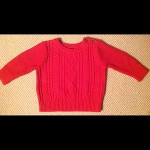 New Baby Gap Cotton Cable Crewneck/Buttons 3-6mo